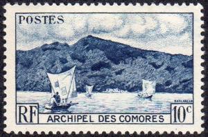 Comoro Islands 30 - Mint-H - 10c Anjouan Bay / Sailboats (1958) (cv $0.30)