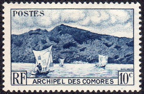 Comoro Islands 30 - Mint-H - 10c Anjouan Bay / Sailboats (1958) (cv $0.30)
