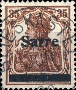 SARRE / SAARGEBIET - 1920  BLIESKASTEL  cds (K1) on Mi.11.I 35pf