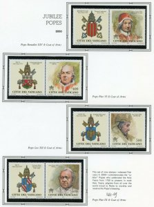 VATICAN CITY 2000  COMPLETE YEAR SET STAMPS MINT NH ON WHITE ACE ALBUM PAGES