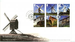 Great Britain 2017 FDC  Windmills and Watermills  Sc# 3616-3621 se tenant pairs