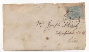 CSA Cover Scott #2 VF Stamp Posotaligo SC Black CDS Feb 13, 1862?