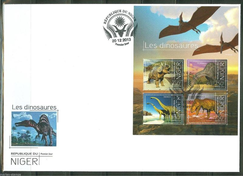 NIGER  2013 DINOSAURS  SHEET   FIRST DAY COVER