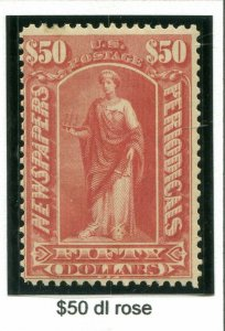 US Scott #PR124  $50 Newspaper MNH Stamp. . Free Shipping.
