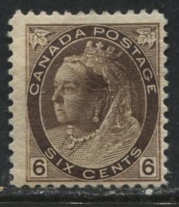 Canada QV 1897 6 cents Numeral mint o.g.