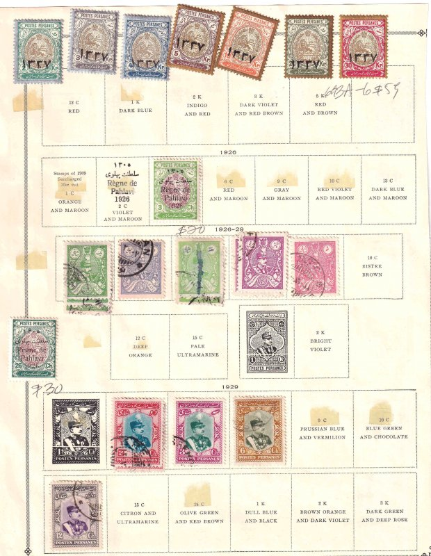 IRAN 2 ALBUM PAGES COLLECTION LOT $179 SCV FOR MARKED STAMPS ALONE