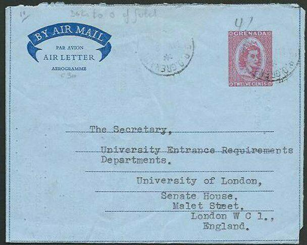 GRENADA 1958 12c aerogramme commercially used to London....................61048