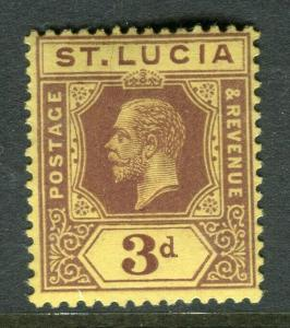 ST.LUCIA; 1921 early GV issue fine Mint hinged Shade of 3d. value