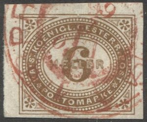AUSTRIA 1899  6h Imperf Postage Due Sc J15, Used VF, Scarce red Prag cancel
