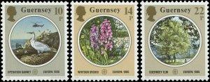 Great Britain - Guernsey 1986 Sc 331-333 Bird Gannet Elm Orchid