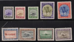 Greenland 1945 long stamp  set mint NH King, Seal, Eider Duck, Dogsled