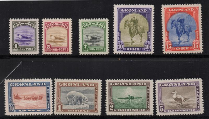 Greenland Sc 10-18 1945 King, Seals, Bear, Kayak, Eider long stamp set mint NH