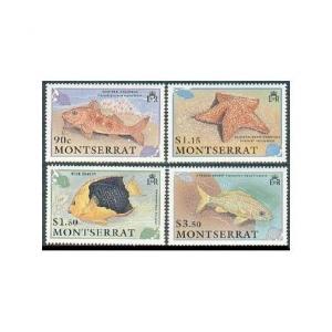 Montserrat 758-761,762,MNH.Mi 795-798,Bl.60. 1991.Goat-fish,Starfish,Trunk-fish,