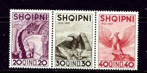 Albania 280a-c MNH 1937 strip of 3 from souvenir sheet