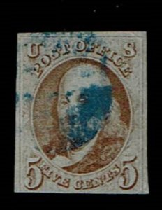Scott #1 F/VF-used. With 2017 PSE certificate.