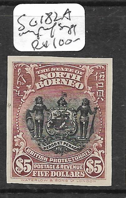 NORTH BORNEO (P2603B) $5.00  ARMS, LION SG 182A   IMPERF SINGLE NGAI