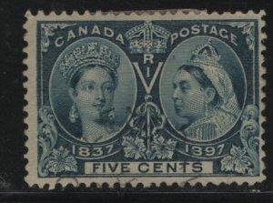 Canada, 54, DAMGED GUM, HINGED REMNANT, 1897 Queen Victoria 1837 & 1897