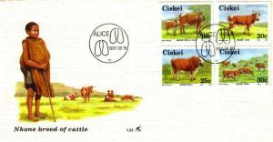 Ciskei - 1987 Nkone Cattle FDC SG 111-114