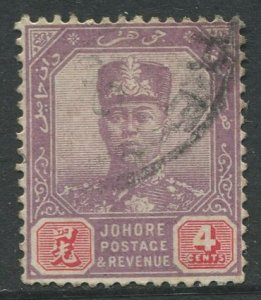STAMP STATION PERTH Johore #89 Sultan Ibrahim Definitive  Wmk 3  Used 1918-1920