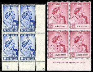 Seychelles 1948 KGVI Silver Wedding set (inprint/plate block) MNH. SG 152-153.