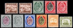 Malta Scott 28-35, 38, 43, 45 (1904-11) Mint H-LH F-VF, CV $108.25