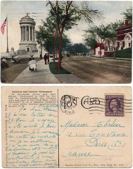 USA to France 1918 View Card Showing Soldiers and Sailors Monument - Civil War