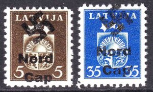 LATVIA 220, 226 WW2 NORD CAP OVERPRINTS OG NH U/M F/VF TO VF BEAUTIFUL GUM