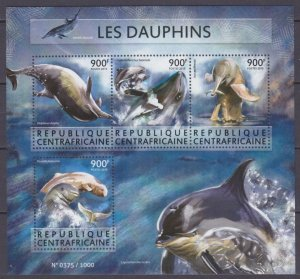 2015 Central African Republic 5655-5658KL Marine fauna - Dolphins 16,00 €