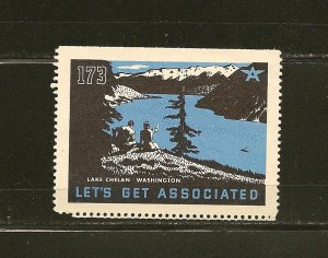 Tydol Flying A Lets Get Associated Lake Chelan Washington 1930's Poster Stamp