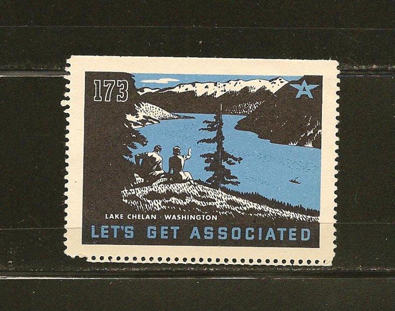Tydol Flying A Lets Get Associated Lake Chelan Washington 1930's Poster Stamp