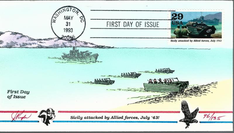 Beautiful Pugh Designed FDC Sicily Attacked by Allies  #96 of 135
