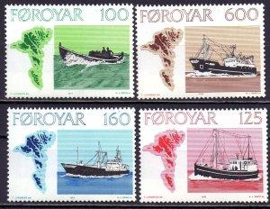 Faroe Islands MNH 24-7 Fishing Ship Vessels 1977