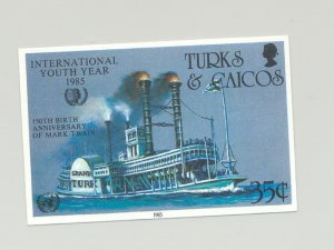 Turks & Caicos #672 Youth Year, UN, Mark Twain, River Boat 1v Imperf Proof