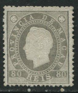 Macao 1888 80 reis grey unused no gum