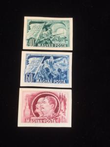 Hungary Scott # 979-981 Mint Never Hinged Imperf!