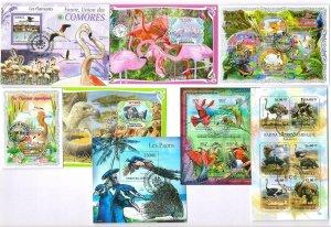 Birds, inc Flamingos etc x 8 Souvenir Miniature Sheets CTO Used