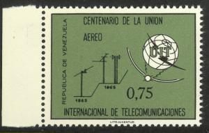 VENEZUELA 1965 ITU Centenary Airmail Sc C908 MNH