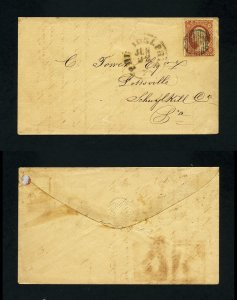 # 26 on cover from Philadelphia, PA to Pottsville, PA dated 6-22-1850's