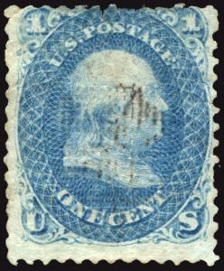 Classic #86 1c Blue 1868  Scruffy Used E Grill Small Faults but Scarce Stamp