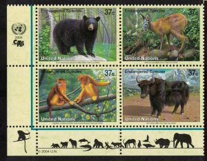 UN New York Black bear Deer Monkey Yak Block of 4 SG#921-924