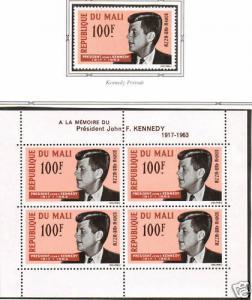 Mali Sc C24, C24a MNH. 1964 JFK single + S/S, VF
