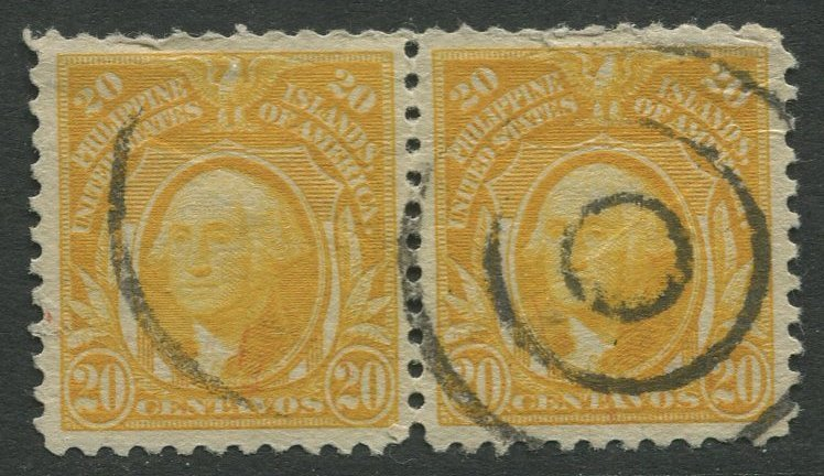 STAMP STATION PERTH Philippines #297 Washington 1917 No Wmk Used Pair CV$0.25