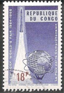 Congo Stamp - Scott #525/A110 18fr Vio Bl & Brown World's Fair Canc/LH 1965