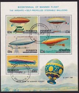 PENRHYN IS 1983 Manned flight souvenir sheet fine used......................9763