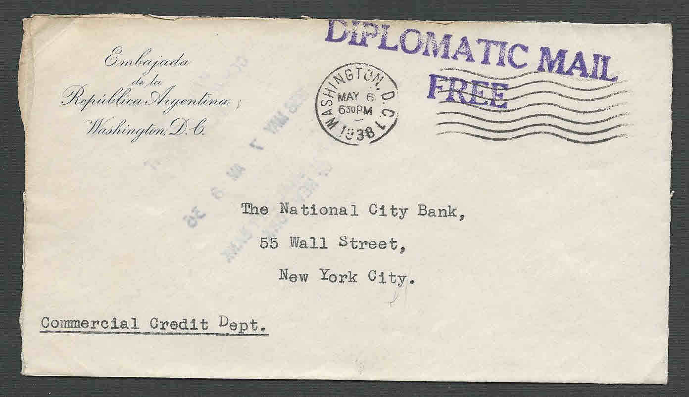 DATE 1938 COVER WASH DC DIPLOMATIC MAIL FREE FROM EMBASSY OF