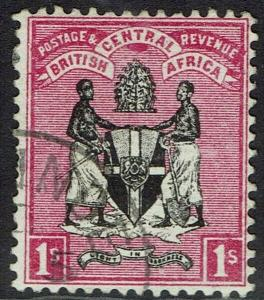 BRITISH CENTRAL AFRICA 1895 ARMS 1/- NO WMK USED