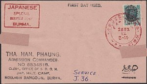 BURMA JAPAN OCCUPATION WW2 - old forged stamp on faked cover................F476