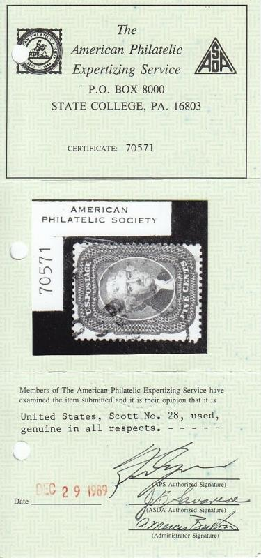 28 used APS certificate neat light cancel with nice color cv $ 1100 ! see pic !