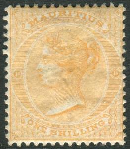 MAURITIUS-1872 1/- Orange.  A mounted mint example Sg 70
