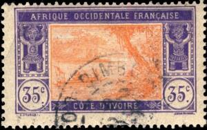 CÔTE-D'IVOIRE - 192? - CAD DIMBOKRO / COTE-D'IVOIRE DOUBLE CERCLE SUR N°50